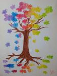 """""""L'arbre aux papillons, Marine G., 15 ans et demi  (acrylique sur toile)"""