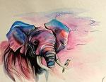 Dessin aux crayons aquarellables de Adèle B. 17,5 ans