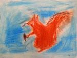 L'écureuil de Aaron, 6 ans et demi, pastel