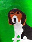 Nox, le chien de Lucie, 9 ans (acrylique sur toile)