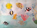 Fonds sous marins de Nassim, 10 ans, aquarelle