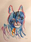 Dessin aux crayons et feutres aquarellables de Lucie D. 10,5 ans