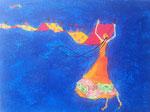 """""""Bleu volant asiatique"""", Marine 11 ans et demi (acrylique sur toile)"""