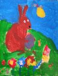 Le lapin de Pâques de Jules 4 ans (gouache sur papier)