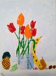 Bouquet de tulipe avec fruits, Antoine, 10 ans (acrylique sur toile)