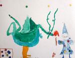 Dragon et magicien de Aaron, 7,5 ans (aquarelle)