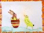 """""""Pâques"""", aquarelle de Clément, 6 ans"""
