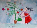 """""""Fête des mères"""", aquarelle et collages de Nawfel, 6 ans et demi"""