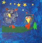 Jules, 4 ans (acrylique et collages sur toile)