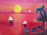 Coucher de soleil d'Antoine, 8 ans et demi (acrylique sur toile)