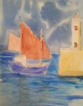 Paysage breton, Antoine, 7 ans et demi (aquarelle sur papier)