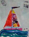 Le voilier de Junerose, 5 ans et demi (aquarelle)