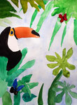 Toucan de Hugo, 8 ans, aquarelle