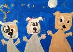 La famille chien de Jules, 4 ans (acrylique sur toile)