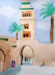 """""""La Koutoubia"""" (Marrakech), aquarelle de Lucie, 10 ans"""