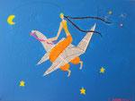 """""""Vol de nuit"""", Romane 15 ans (acrylique sur toile)"""