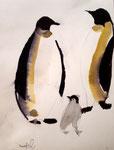 Famille manchot de Nawfel, 6 ans (aquarelle)