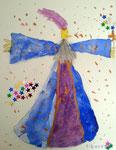 Le magicien de Clément, 6 ans (aquarelle sur papier)