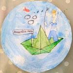 aquarelle sur papier, cadeau de la fête des pères de Nassim, 9 ans et demi