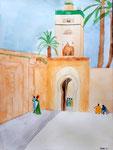 """La Koutoubia"" (Marrakech), aquarelle de Clara, 13 ans"