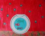 Alice, 7 ans et demi (acrylique et collages sur toile)