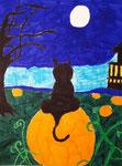 Halloween, dessin au feutre de Clément, 7,5 ans