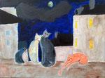 """""""La famille chat sur les toits de Paris"""", Eloïse 11 ans (acrylique sur toile)"""