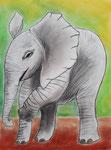 Eléphant de Salomé, 11 ans (pastel)
