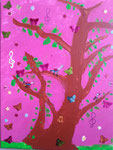 """""""Le chant des oiseaux"""", Fleur, 7 ans et demi (acrylique sur toile)"""