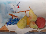 Nature morte, aquarelle de Lucie D. 9 ans