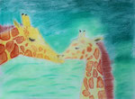 Girafes, pastel de Clara, 13 ans