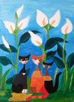 """""""Sous les arums"""", Adèle 13 ans (acrylique sur toile)"""