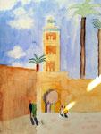 Marrakech, Antoine 8 ans et demi (aquarelle)