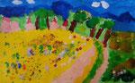 Paysage de Jules,  4 ans (acrylique sur papier)