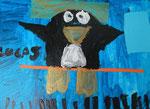 Lucas, 9 ans et demi (acrylique et collages sur toile)