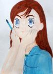 Manga de Coline, 8 ans et demi (aquarelle et feutres)