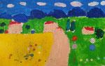 Paysage de Salma, 5 ans (acrylique sur papier)