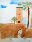 Marrakech, Jeanne 11 ans (aquarelle)