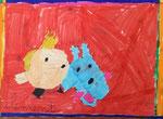 Tintin et Milou de Clément 6 ans (feutres)