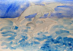 Les dauphins de Ugo 10 ans (aquarelle sur papier)