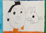 Tintin et Milou de Aaron, 7,5 ans (feutres)