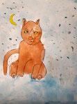 chat de Clément, 6 ans (acrylique)