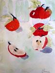 Pommes de Clément, 8 ans (aquarelle)
