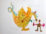 Dragon et chevalier de Clément , 6 ans (aquarelle)