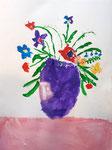 Bouquet à la gouache de Manon, 6 ans