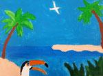 Paysage de Pauline, 9 ans  (acrylique sur toile)
