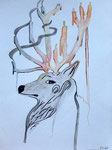 Dessin aux crayons et feutres aquarellables, Flora V. 11 ans