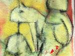 Ladybird / Acryl, Stifte auf Papier / 25x25
