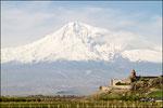 Monastero di Khor Virap - sullo sfondo il monte Ararat
