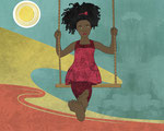 Barefoot Girl on Swing
